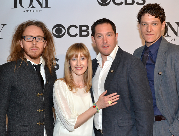 The grown-up nominees of <i>Matilda</i>, composer/lyricist Tim Minchin, Lauren Ward, Bertie Carvel, and Gabriel Ebert, get close for the cameras.<br />(© David Gordon)