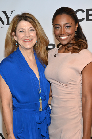 <i>Cinderella</i> nominee Victoria Clark reunites with her former <i>Sister Act</i> costar, <i>Pippin</i> nominee Patina Miller.<br />(© David Gordon)