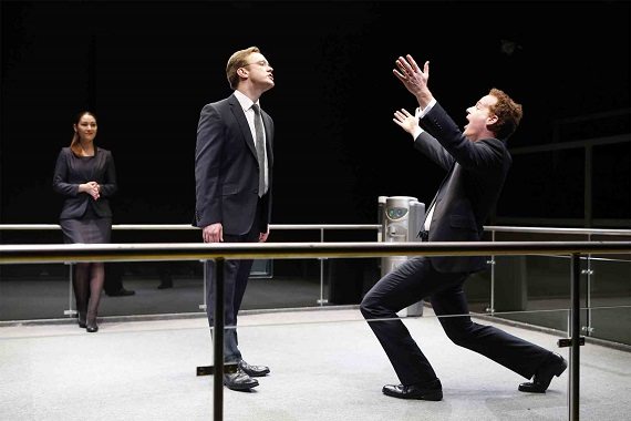 Eleanor Matsuura, Sam Troughton, and Adam James in <i>Bull</i>, part of Brits Off Broadway at 59E59 Theaters.