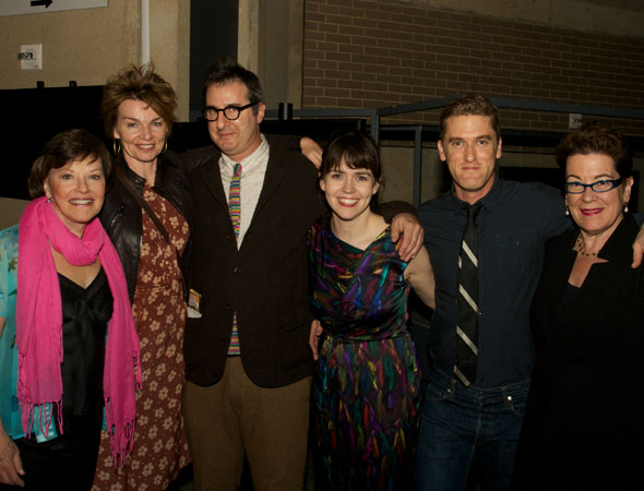 Cast members Helen Carey, Martha Hackett, Emily Donahoe, and Scott Drummond with playwright Jon Robin Baitz (third from left), and artistic director Molly Smith (right) at the opening night celebration for <i>Other Desert Cities</i> at Arena Stage. <br />(© Jon Harvey)