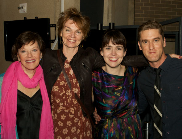 Cast members Helen Carey, Martha Hackett, Emily Donahoe and Scott Drummond enjoy the evening together.<br />(© Jon Harvey)
