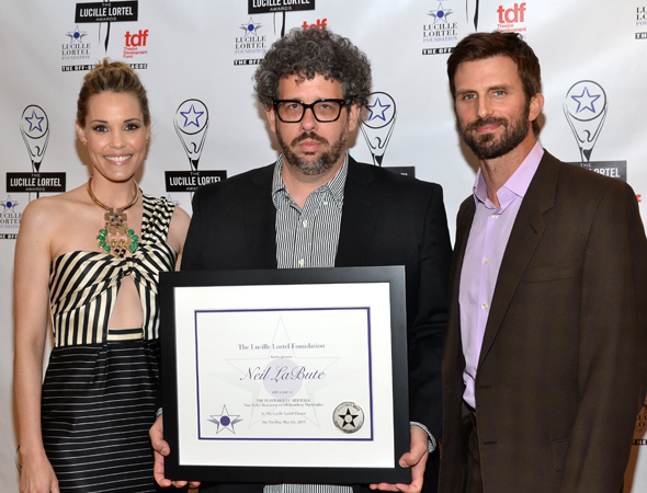 <i>Reasons to Be Happy</i> stars Leslie Bibb (left) and Frederick Weller (right) pose alongside playwright Neil LaBute, who was inducted onto the Playwrights' Sidewalk outside the Lucille Lortel Theatre.<br />(© David Gordon)