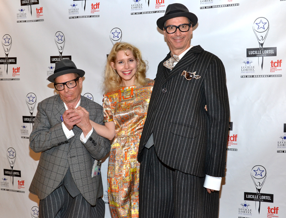 In costume, Bill Irwin, Nellie McKay, and David Shiner celebrate their Outstanding Alternative Theatrical Experience win for <i>Old Hats</i>.<br />(© David Gordon)