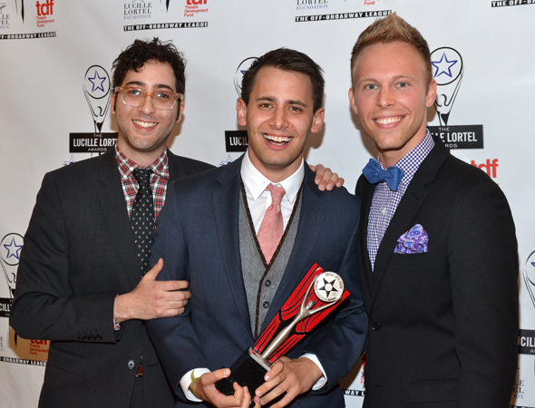 <i>Dogfight</I> scribes Peter Duchan, Benj Pasek, and Justin Paul smile alongside their award for Outstanding Musical.<br />(© David Gordon)