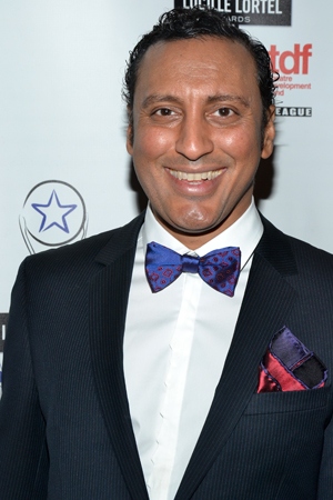 Aasif Mandvi served as the evening's cohost and was also a nominee for his performance in the drama <i>Disgraced</i>.<br />(© David Gordon)