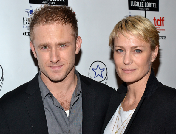 <i>Orphans</i> star Ben Foster (joined here by <i>House of Cards</i> cast member Robin Wright) served as one of the evening's presenters.<br />(© David Gordon)