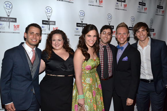 Members of the <i>Dogfight</i> family: composer/lyricist Benj Pasek, cast members Deidre Friel and Lindsay Mendez, book writer Peter Duchan, composer/lyricist Justin Paul, and cast member Derek Klena.<br />(© David Gordon)