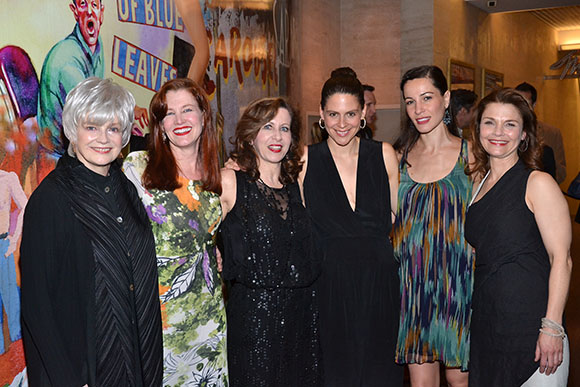 Blair Brown, Haviland Morris, Betsy Aidem, Katie Kreisler, Natalia Alonso, and Kathryn Erbe celebrate opening night. <br />(© David Gordon)