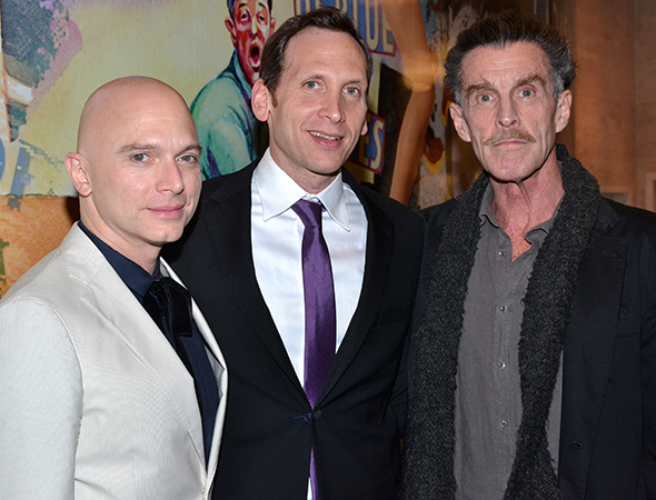 Tony Award winner Michael Cerveris plays legendary choreographer George Balanchine. He poses here with Tony Award nominee Stephen Kunken and Tony Award winner John Glover, who play composers Nikolai Nabokov and Igor Stravinsky, respectively.   <br />(© David Gordon)