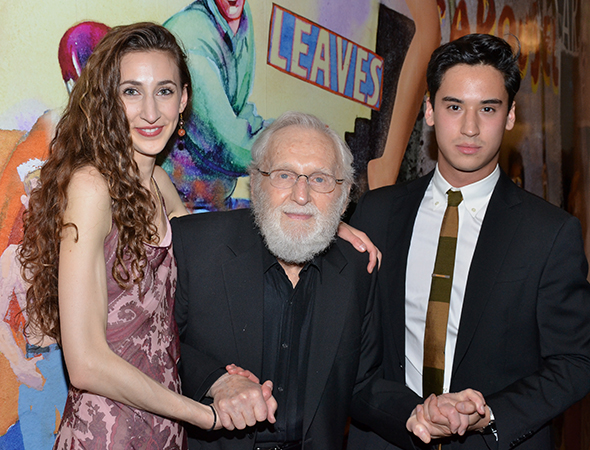 Former artistic director of the Guthrie and an Obie Award winner, Alvin Epstein (center) holds hands with Lauren Culpepper and Michael Rosen. <br />(© David Gordon)