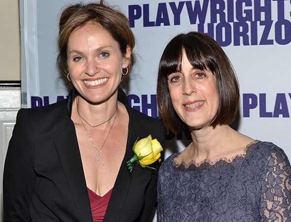 Amy Brenneman appeared at Playwrights Horizons in last season's <I>Rapture, Blister, Burn</I>. Here she is with Managing Director Leslie Marcus. <br />(© David Gordon)