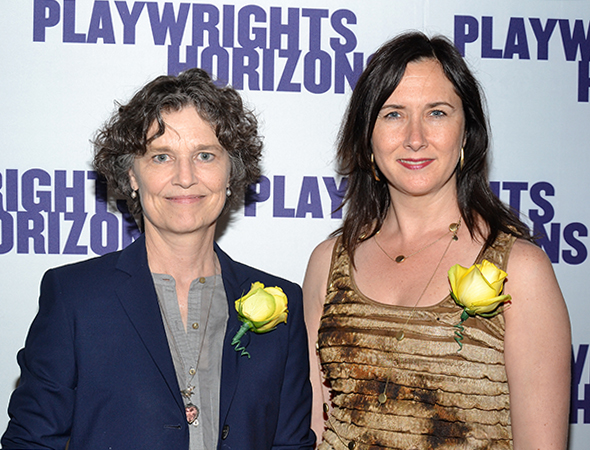 Playwrights Kathleen Tolan (<I>Memory House</I>) and Lisa D'Amour (<I>Detroit</I>) sport their yellow boutonnieres.<br />(© David Gordon)