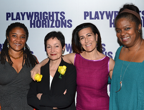 Pulitzer Prize-winning playwright Lynn Nottage (<I>Ruined</I>), Tony Award-winning lyricist Lynn Ahrens (<I>Ragtime</I>), Drama Desk Award-winning composer Jeanine Tesori (<I>Caroline, Or Change</I>), and Drama Desk Award nominee Kirsten Childs (<I>The Bubbly Black Girl Sheds Her Chameleon Skin</I>) are quite the decorated foursome. <br />(© David Gordon)