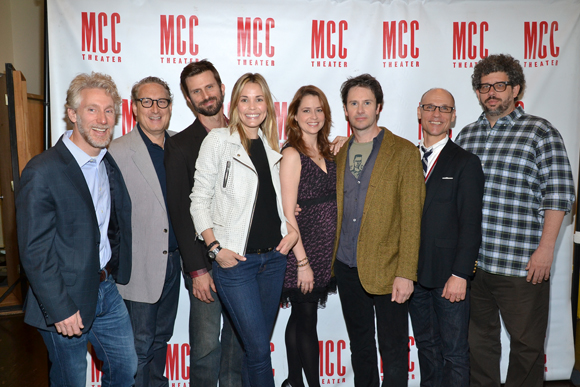 MCC's Executive Director Blake West and Artistic Director Bernie Telsey pose with <i>Reasons to Be Happy</i> cast members Frederick Weller, Leslie Bibb, Jenna Fischer, and Josh Hamilton as well as Artistic Director Will Cantler and playwright/director Neil LaBute.<br />(© David Gordon)