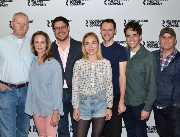 The cast of <i>The Unavoidable Disappearance of Tom Durnin</i>, including David Morse, Lisa Emery, Rich Sommer, Sarah Goldberg, and Christopher Denham, pose with playwright Steven Levenson and director Scott Ellis.<br />(© David Gordon)