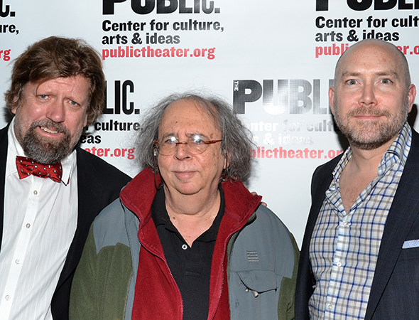 The godfather of the American avant-garde, Richard Foreman stands between Public Theater Artistic Director Oskar Eustis and Executive Director Patrick Willingham. Eustis has been attending Foreman's shows since 1975's <I>Rhoda in Potatoland</I>.<br />(© David Gordon)