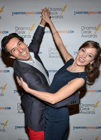 <i>Cinderella</i> choreography nominee Josh Rhodes and acting nominee Laura Osnes strike a pose.<br />(© David Gordon)
