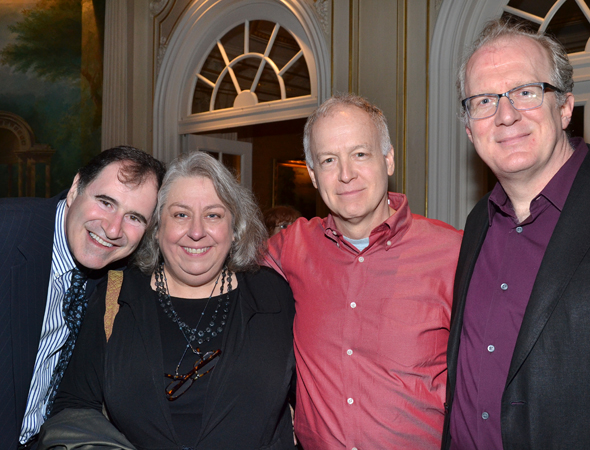 Richard Kind, Jayne Houdyshell, Reed Birney, and Tracy Letts mingle at the party.<br />(© David Gordon)