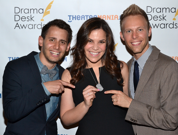 <i>Dogfight</i> family members Benj Pasek, Lindsay Mendez, and Justin Paul point to her production dog tag. <br />(© David Gordon)