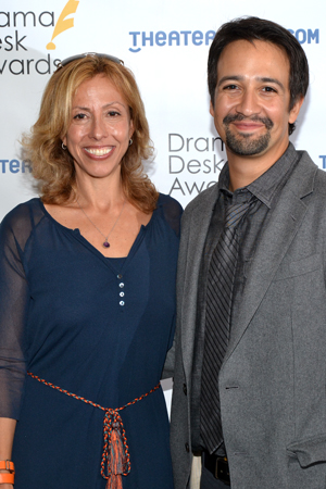 Amanda Green and Lin-Manuel Miranda — Outstanding Lyrics nominees for <i>Bring It On</i>.<br />(© David Gordon)