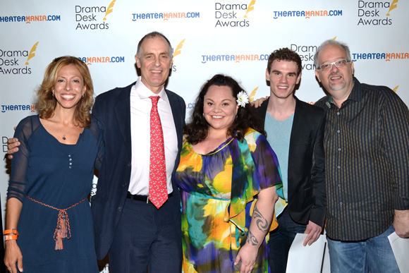 The <i>Hands on a Hardbody</i> family: Amanda Green, Keith Carradine, Keala Settle, Jay Armstrong Johnson, and Doug Wright.<br />(© David Gordon)