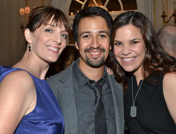 Nominees Julia Murney, Lin-Manuel Miranda, and Lindsay Mendez smile for the camera.<br />(© David Gordon)