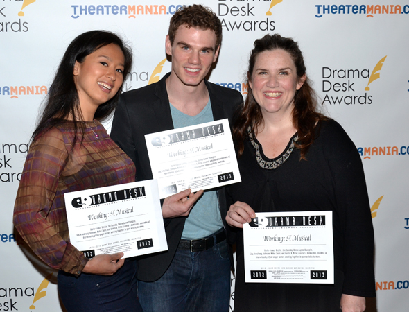 Marie-France Arcilla, Jay Armstrong Johnson, and Donna Lynne Champlin,  — Outstanding Ensemble Performance winners for <i>Working</i>.<br />(© David Gordon)