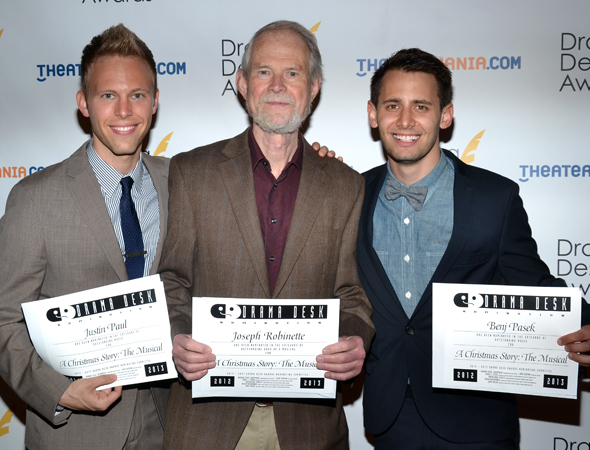 <i>A Christmas Story</i> writers and nominees Justin Paul, Joseph Robinette, and Benj Pasek.<br />(© David Gordon)