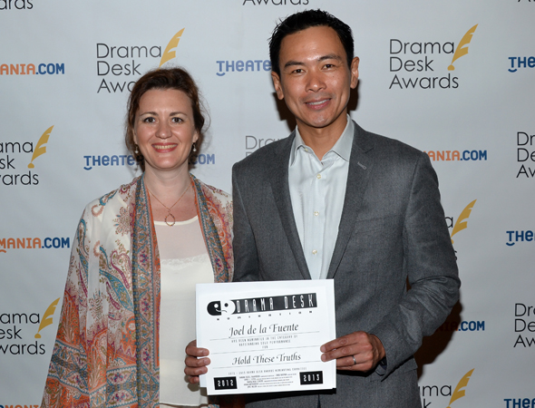 Joel de la Fuente — Outstanding Solo Performance nominee for <i>Hold These Truths</i> (right), with his director, Lisa Rothe.<br />(© David Gordon)