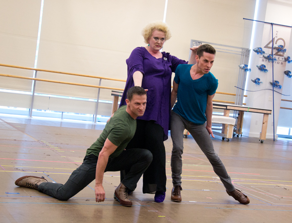 Ursula (Liz McCartney) is joined by her hench-eels, Flotsam and Jetsam (Scott Leiendecker and Sean Patrick Doyle).<br />(© David Gordon)