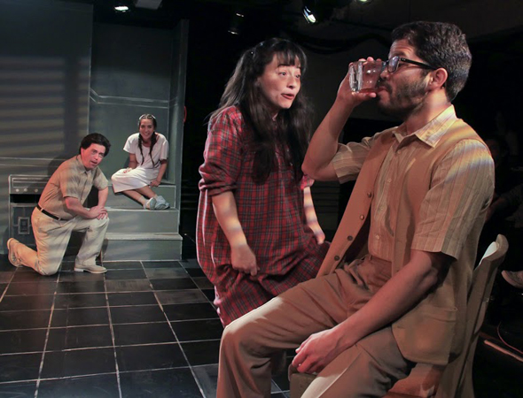 José Antonio Melián, Heather Velazquez, Maria Helan, and Carlo Albán in a scene from <i>Pinkolandia</i> at INTAR Theatre.