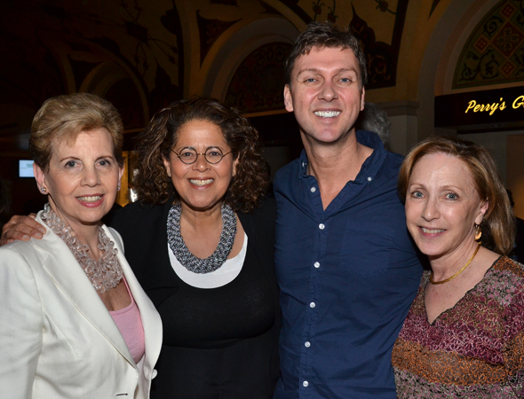 Director/choreographer Warren Carlyle (third from left) is congratulated by his adoring fans, (from left) philanthropist Adrienne Arsht, writer/performer Anna Deavere Smith, and New York City Center President and CEO Arlene Shuler.<br />(© David Gordon)