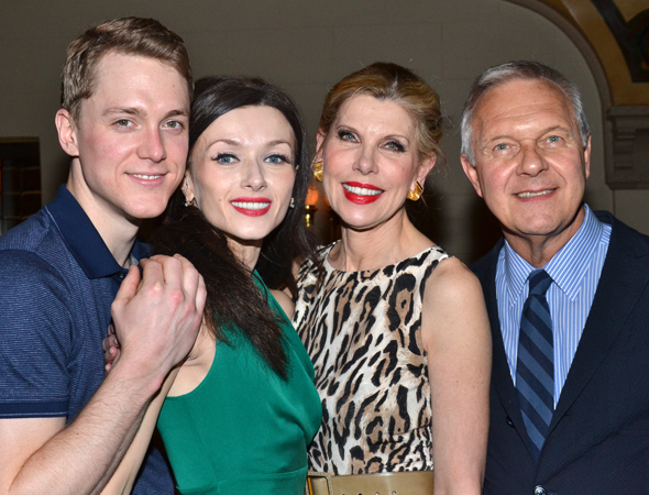 Wiley and Dvorovenko join costars and Tony Award winner Christine Baranski (producer Peggy Porterfield) and Walter Bobbie (maestro Sergei Alexandrovitch) for a photo.<br />(© David Gordon)