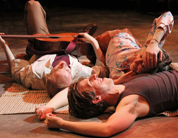 Kayla Wickes, Rowan Michael Meyer, and Simon Pearl as Edward in <i>Blood Brothers</i>