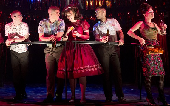 Lindsay Mendez with Nick Blaemire, Derek Klena, Josh Segarra, and Annaleigh Ashford in <i>Dogfight</i>