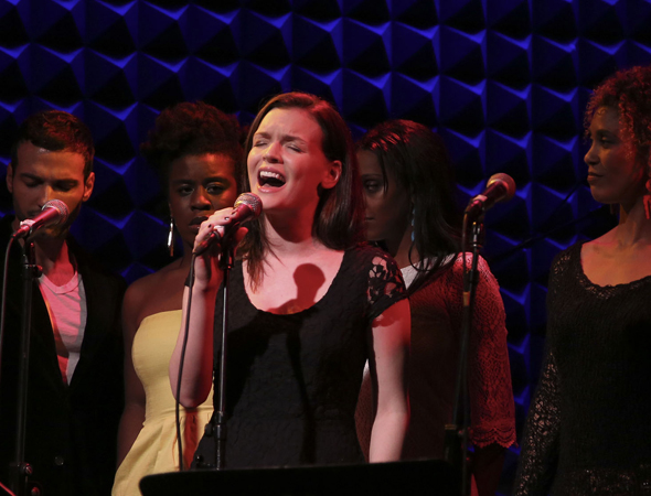 Jennifer Damiano (center) is joined by Haaz Sleiman, Uzo Aduba, Semhar Ghebremichael, and Victoria Platt,  singing from <i>Venice</i>.<br />(© Tammy Shell)