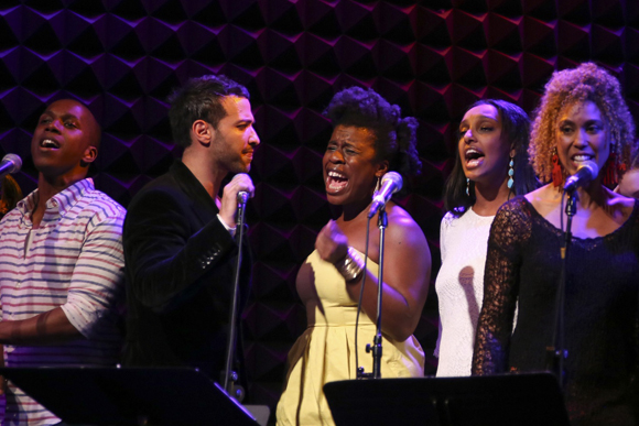 Leslie Odom Jr., Haaz Sleiman, Uzo Aduba, Semhar Ghebremichael, and Victoria Platt offer a preview of the new Matt Sax and Eric Rosen musical, <i>Venice</i>.<br />(© Tammy Shell)