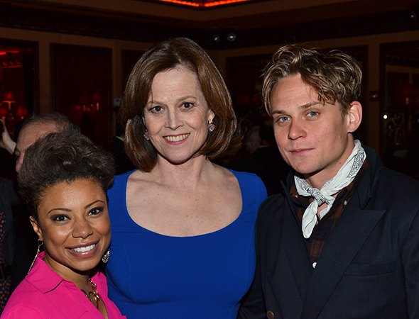 Sigourney Weaver smiles alongside her costars, Shalita Grant and Billy Magnussen.<br />(© David Gordon)