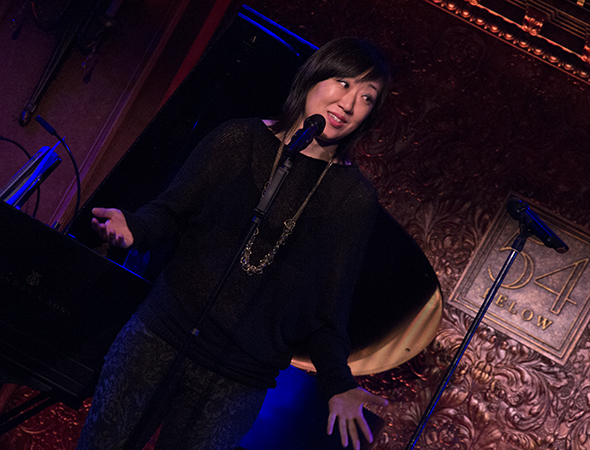 Playwright/performer Young Jean Lee presents an award to Soho Rep.<br />(© David Gordon)