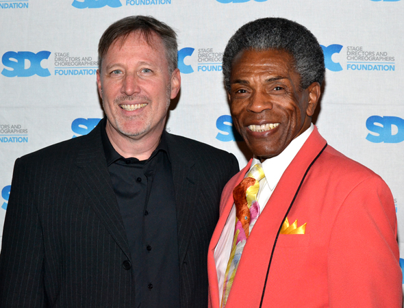 Musical director John McDaniel smiles alongside performer Andre De Shields, who starred in <i>The Full Monty</i>, a show that was choreographed by Jerry Mitchell. <br />(© David Gordon)