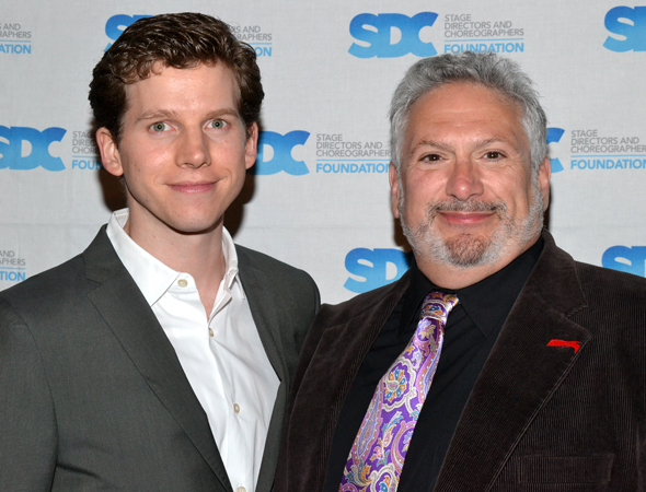 Tony Award-nominated <i>Kinky Boots</i> star Stark Sands and book writer Harvey Fierstein smile for the cameras.<br />(© David Gordon)