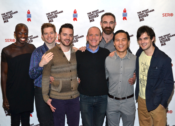 Donald C. Shorter Jr., Rory O'Malley, Chad Ryan, David Drake, Aaron Tone, B.D. Wong, and Wesley Taylor are among the cast of <i>The Night Larry Kramer Kissed Me</i>.
