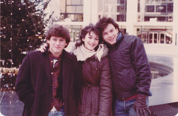 (l to r): Todd, Marisa, and Michael Cerveris at the Lincoln Center Christmas Tree near New York City Ballet, 1983.