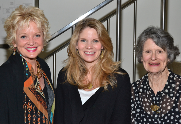 Christine Ebersole, Kelli O'Hara, and Mary Louise Wilson pose downstairs at Playwrights Horizons.<br />(© David Gordon)