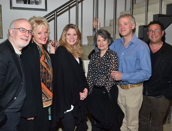 It's a <i>Grey Gardens</i> reunion as Christine Ebersole and Mary Louise Wilson join <i>Far From Heaven</i> family members Lawrence Yurman, Kelli O'Hara, Scott Frankel, and Michael Greif for a photo.<br />(© David Gordon)
