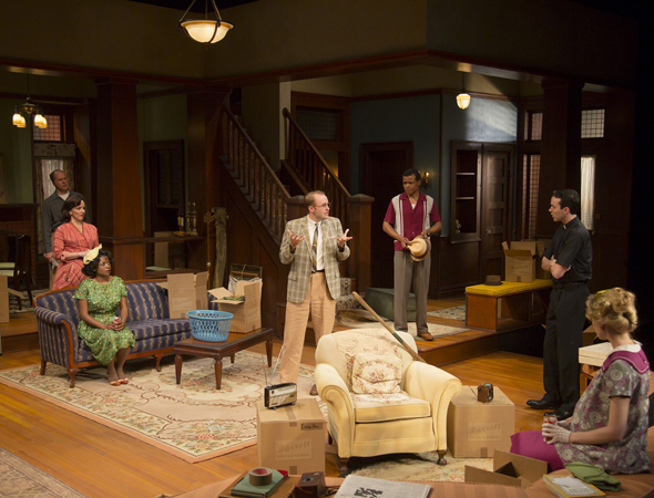 Pictured from left to right: Daniel Jenkins, Alice Ripley, Melle Powers, Alex Moggridge, LeRoy McClain, Jimmy Davis and Lucy Owen in a scene from Act I.<br />© T Charles Erickson