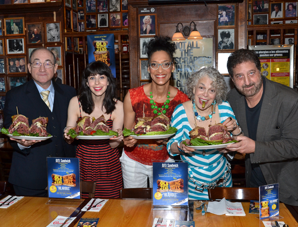 Todd Susman, Audrey Lynn Weston, Chef Carla Hall, Marilyn Sokol, and Peter Gethers show off the OJTJ Sandwich.<br />(© David Gordon)