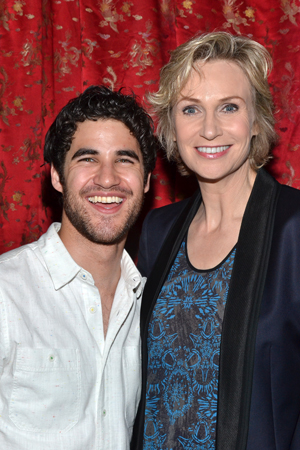 Darren Criss shares a photo with Broadway's newest Miss Hannigan Jane Lynch.<br />(© David Gordon)
