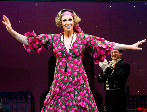 Jane Lynch takes her opening night curtain call.<br />(© David Gordon)