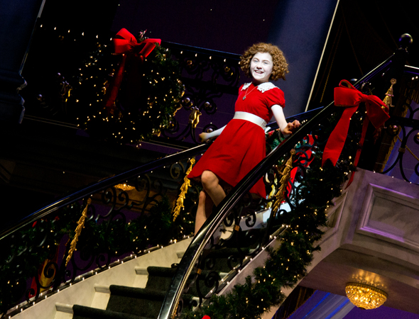 Lilla Crawford descends the set's grand staircase.<br />(© David Gordon)